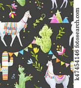 Watercolor lama pattern