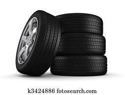 Four tires isolated close-up