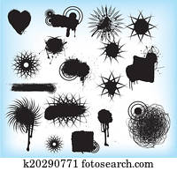 grunge tribal black symbols, tatoos or patterns