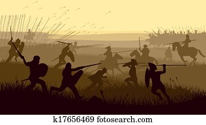 Illustration of medieval battle.