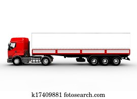 Red 18 Wheeler Side View