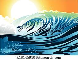 Surf wave at sunrise