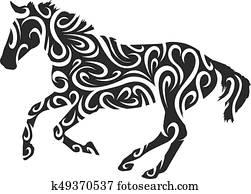 0c79a9106de Horse tribal Clipart | k18879533 | Fotosearch