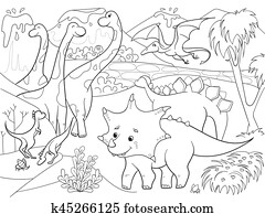 Cartoon Coloring for children dinosaurs in nature. Black and white vector illustration