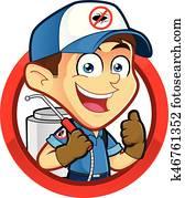Exterminator or pest control in round frame