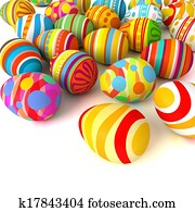 Happy Easter. Pile of eggs