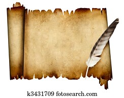 Scroll of parchment and feather