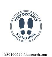 Steps on floor in circle, keep distance in line, stand here sign, queue order
