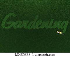 The word Gardening cut out in grass.