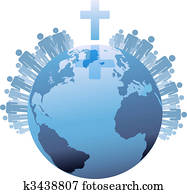World Global Christian Populations of Earth under Cross