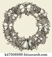 art illustration of christmas wreath