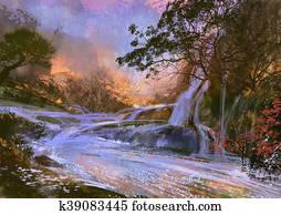 beautiful purple waterfall
