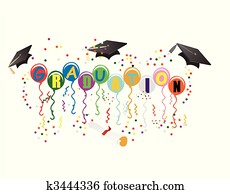 Graduation Ballons for celebration illustration