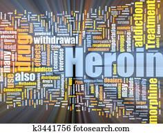 Heroin word cloud glowing