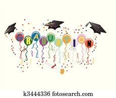 maturafeier, ballons, für, feier, abbildung