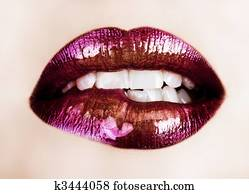 purple lipstick lips