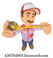 3D Handyman with with a tape measure