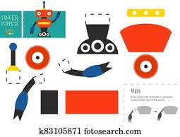 Cut and glue paper toy. Vector robot character for educational activity