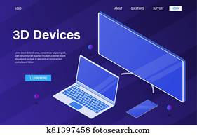 Office set of computer equipment. New modern devices in 3D isometric style. Monitor, laptop, phone. Employee workspace. Isolated and high-quality drawn objects. Easy to edit Vector Illustration EPS 10