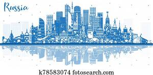 Outline Russia City Skyline with Blue Buildings and Reflections.
