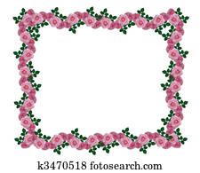 Pink roses garland border