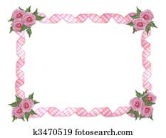Pink roses gingham ribbons border