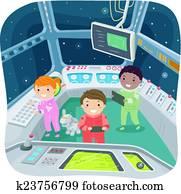 Stickman Kids Spaceship Control Room