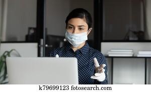 Tutor giving online lesson, remote work during quarantine.