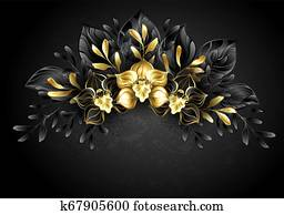 Wreath black orchids