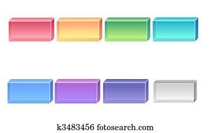 3d square buttons
