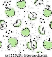 Beautiful black and white seamless doodle pattern with cute doodle apples sketch. Hand drawn trendy background. design background greeting cards, invitations, fabric and textile