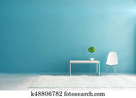 Blue interior with empty wall