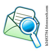 envelope email and magnifying glass