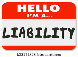Hello I Am a Liability Red Name Tag Sticker Risk Employee