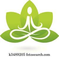 joga, lotos, symbol, /, logo