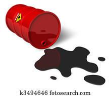 Barrel with spilled oil