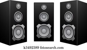 Black speaker white background