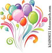 bunt, spritzen, mit, luftballone