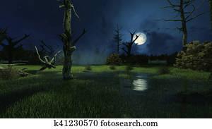 Creepy swamp at dark misty night