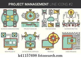 Project management line icon set.