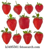 Set of isolated strawberries