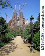 Street light in the park near Sagrada Familia. Barcelona, Spain.