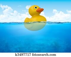 Yellow duck in open sea