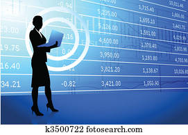 businesswoman holding laptop on stock market background