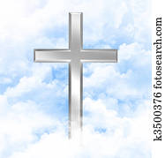 Christian cross in the clouds