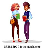 College or university students illustration
