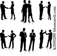 mitarbeitergruppe, silhouette, sammlung