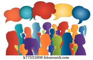 Multicultural crowd talking. Dialogue group diverse people different cultures. Communication and sharing information. Silhouette profiles that speak. Speech bubble. To communicate. Interview