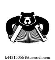Bear was playing the balalaika  Russian national musical instrument