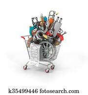 Auto parts in the trolley. Auto parts store. Automotive basket shop.